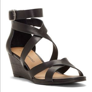 Lucky Brand Black Jinela Wedge Sandal Heels